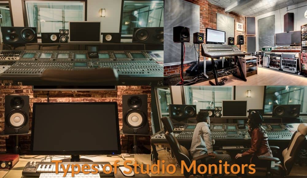 Different types and sizes of studio monitors in music production studio.