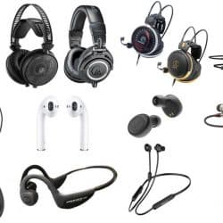 Different types of headphones that suitable for singers, musicians, music producers and recording studio uses.