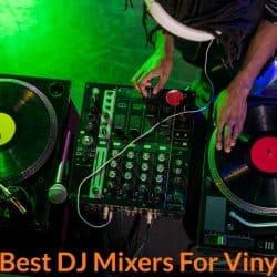 Connecting dj mixer to vinyl to mix music.