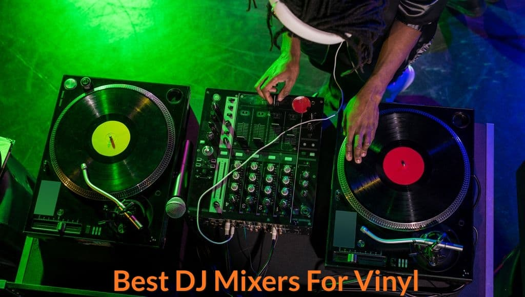 Connecting dj mixer to vinyl to mix music.