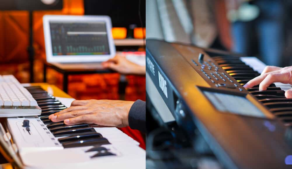 Music producers making music with DAW software and keyboard workstation.
