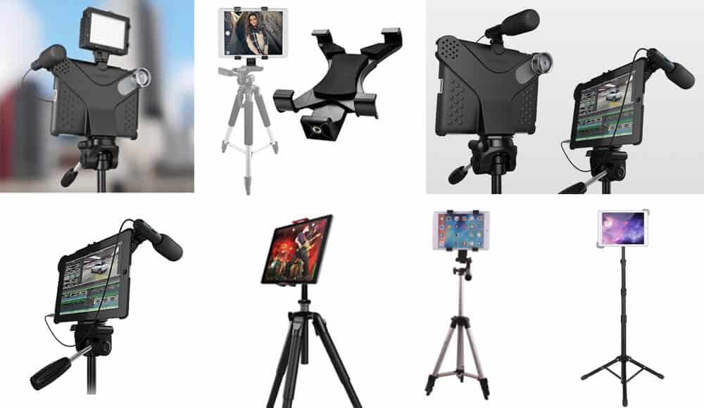Different types of tablet stands and mounts that suitable to use in shooting video.