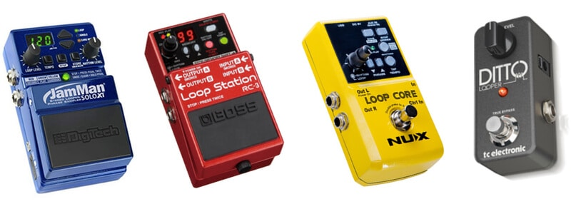 Different models of looper pedals that used by musicians and singers.
