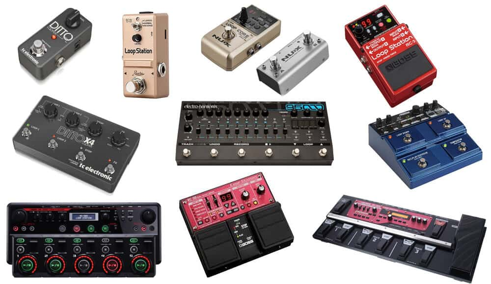 Different types and models of looper pedal and stations.