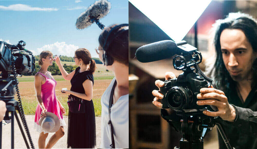 Filming music video with shotgun mics.