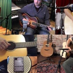 Musicians using different microphones to mic the guitar.