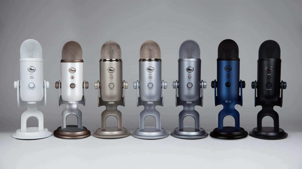 Different colors and editions of Yeti Mic.