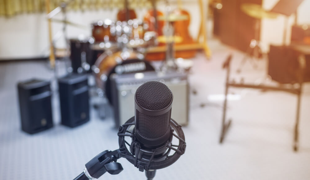 Mic set up for recording live performance in room.