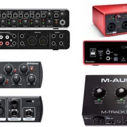 Different types and brands of audio interface in the market.