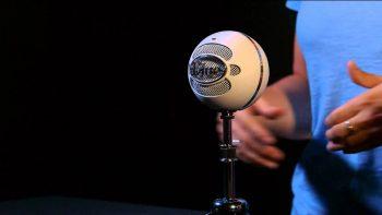 Setting up a Blue Snowball mic.