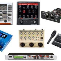 Different types of autotune equipment and gear for real-time pitch correction.