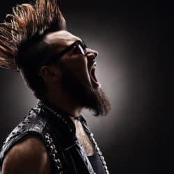 Punk singer singing.