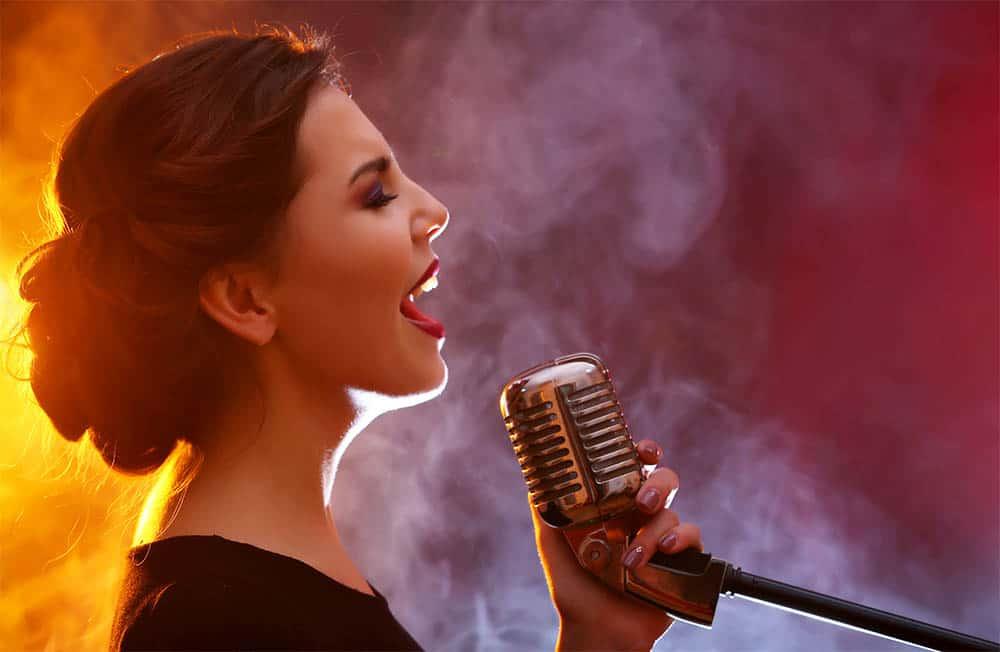 Woman singing beautifully